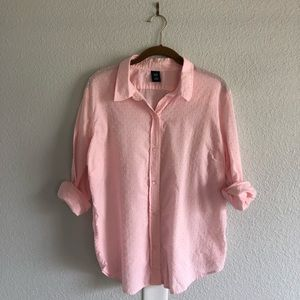 GAP Pink Textured Button Down Top
